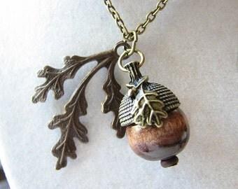 Acorn necklace | wood | brass leaf | oak | autumn | woodland