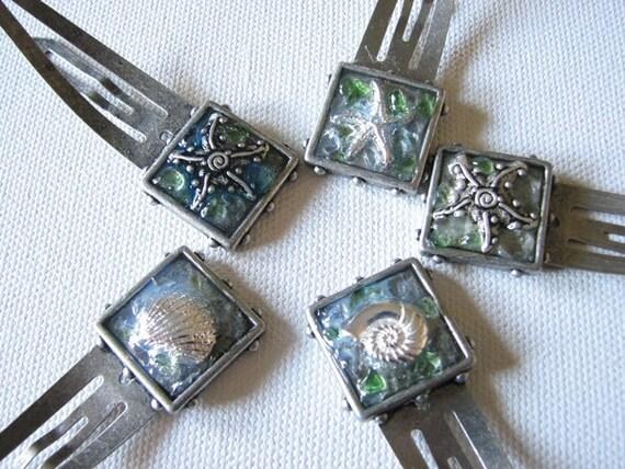 Mermaid hair clip   barrettes   sea glass   girls   set of 5