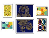 Collage Wall Art Gallery -Set of 6 prints- (2) 5x7 (2) 8x10  (2) 6x8 - Custom colors can be changed Floral /Mehndi pattern