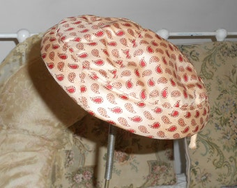 Vintage Hats 40s Hat 50s Hat Pill Box Hat Paisley Fabric Hat Womens Accessories Vintage Accessories