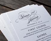 NEW - Wedding Reception / Rehearsal Dinner Menu - The Stephanie - Simple, Elegant - Cardstock 4 x 7 - Custom Ink Colors Available