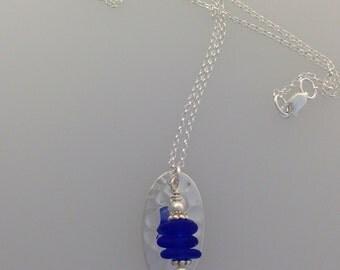 Oval Stack Sea Glass Pendant w/chain