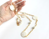 Large Oval Shell Long Chunky Gold Tone Necklace