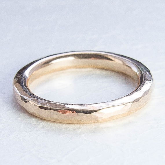 chunky ring thick gold ring hammered 14k gold filled