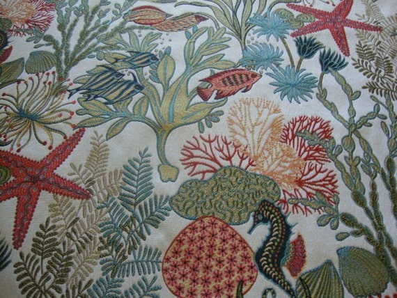... Home Decor Fabric Upholstery Coral Reef Hawaiian Tropical Fish