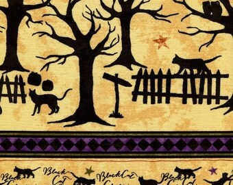 Black Cat Crossing Border Stripe - Maywood Studios - Fat Quarter