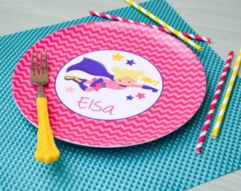 Personalized Superhero Plate / Girls Personalized Super Hero Plate Pink Chevron / Personalized Plates for girls / Kids Personalized Plate