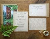 Rustic Wedding Invitation, Woodland Invitation, Boho Wedding Invitation, Vintage Syle Wedding Invitation, Forest Wedding  Invitation