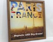Magnet Board - Magnetic Memo Board - Dry Erase Board - Framed Memo Board - Makeup Board - Whiteboard - Paris France Design -Magnets Included