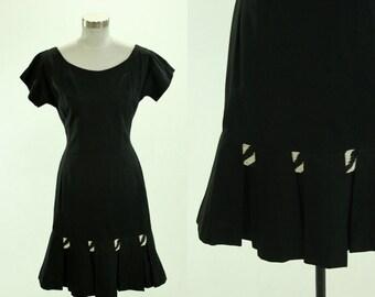 1950's Black Cocktail Dress S M Flair Hem Pleats