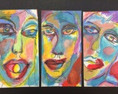 3 faces of Eve  Original mixed media drawing by Trish Vernazza