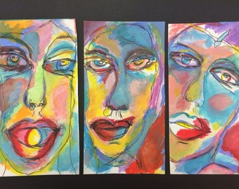 Art 3 faces of Eve  Original mixed media drawing by Trish Vernazza