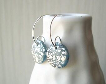 Silver Hoop Earrings - Czech Glass Jewelry, Splatter, Modern, Retro, Steel Gray, Blue, Artsy, Drops