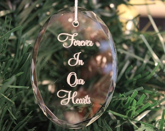 Premier Memorial Oval Crystal Christmas Ornament, Engraved Christmas Ornaments