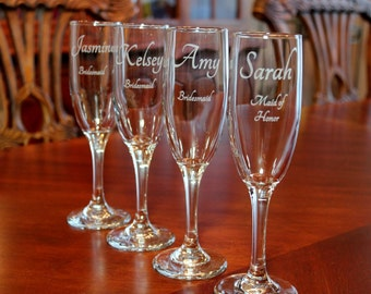 4 Engraved Champagne Flutes,  Personalized Champagne flutes,  Wedding champagne flutes, Bridesmaid champagne flutes, Bridal party glasses