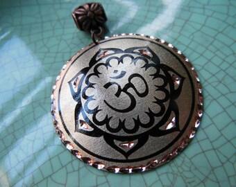 Beautiful Lotus Yoga OM AUM metal Medallion Pendant Focal Bead