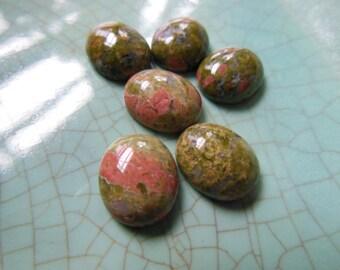 Destash Lot of 6 Green and Pink Unakite Jasper Cabs Oval 12x10mm