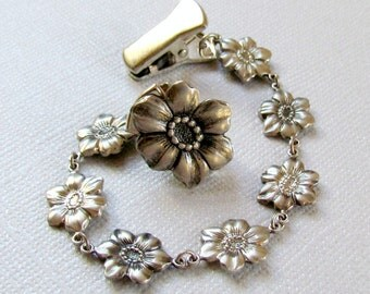 Vintage Silver Floral Sweater Clip