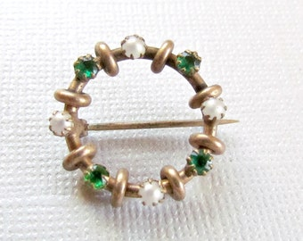 Gold Lingerie Pin Green Stones and Faux Pearls