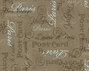Vintage from Andover Fabrics - Antique Look Paris Postcard Words and Postmarks Brown and Blue on Tan Gold