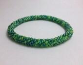 Crochet Bead Bracelet- Moss
