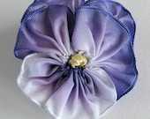 Sweet Purple Ombre Small Pansy Pin - Vintage French Ribbon - Handmade