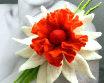 Felted Flower, Hand Felted BROOCH