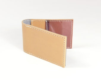 Handmade Natural Veg Tan Leather Bifold Card Wallet With Technical Reflective Fabric Lining