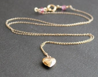 14K Gold Heart Necklace with Pink Sapphire Accent - Valentine's Day Gift