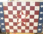 Americana checkerboard, red, white, and blues, star emblem, game board, primitive game board.