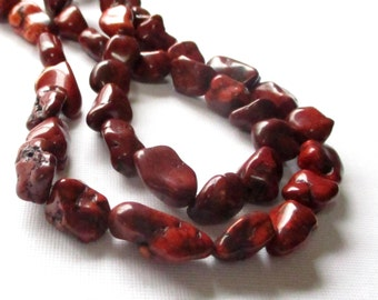 "Brown Nugget Beads - Magnesite Pebbles Drilled Nugget - Chocolate Brown Smooth Gemstone Beads - 16"" Strand - 14mmx8mm - DIY Jewelry Making"