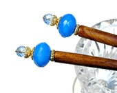 Sky Blue Hair Sticks,  Prom Accessories, For Messy Bun, Pair