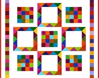 "KAPOW - 49"" x 49"" - Quilt-Addicts Pre-cut Quilt Kit or Finished Quilt Lap size"