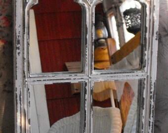 Gothic Window Frame Mirror  Distressed White