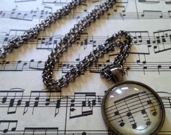 Vintage Music Sheet Pendant Necklace