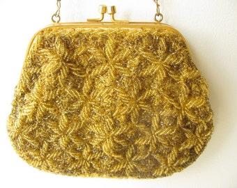 Vintage Evening Bag, Beaded purse, clutch, handbag, bag gold