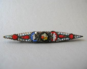 Vintage Mosaic Brooch, Bar Pin, Mini Mosiac, Italy