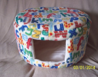 Cat Bed, Dog Bed - Large Fleece Custom Cozy Bed - Off-White Alphabet