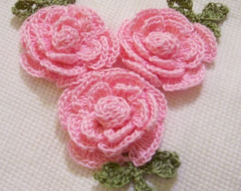 3 roses flowers orchid pink appliques scrapbooking sewn on home decor handmade embellishments