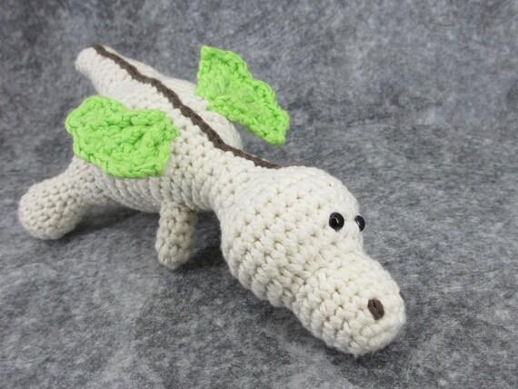 Baby dragon soft rattle crochet stuffed toy organic cotton