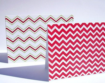 Chevron Holiday Note Cards - Christmas Chevron Stationery, Holiday Thank You Notes, Red Green White Christmas Holiday Card Set, Geometric