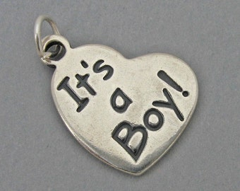 Sterling Silver 925 Charm Pendant IT'S A BOY Heart Baby