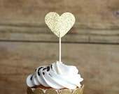 Glitter Heart Cupcake Toppers, 12 bronze, gold, pink, hot pink, silver or red picks, custom colors available