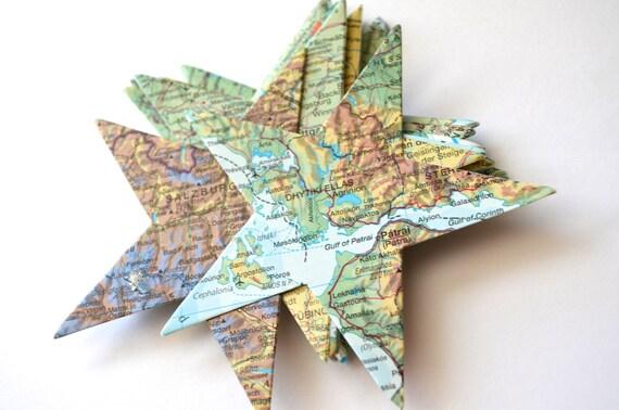 Vintage Map Star Shape Cutouts, 20 pieces