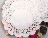 50 SMALL paper doilies - Fancy Seashell design 4 inch round - for decorating, gift wrapping, food display, scrapbooking