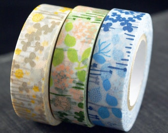 Classiky Japanese Washi tape set - Garden Flowers with Field Grass - yellow, blue, green
