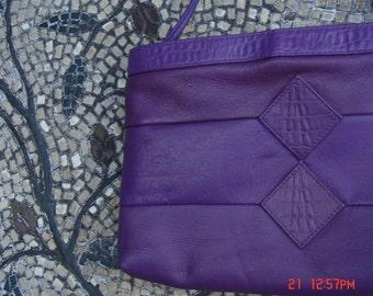 Vintage Purple Leather Envelope Style Clutch/Shoulder Bag - Retro Chic