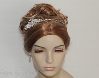 NEW  Handmade Bridal Accessories Wedding Hair Accessories Bridal Swarovski Pearls and Rhinestone Headband -Ready to SHIP