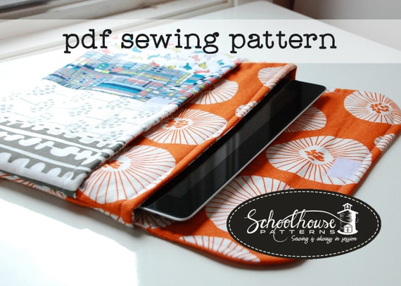 eclutch sewing pattern - sleeve case with pocket - Fits iPad, iPad mini and Kindle Fire - PDF INSTANT DOWNLOAD