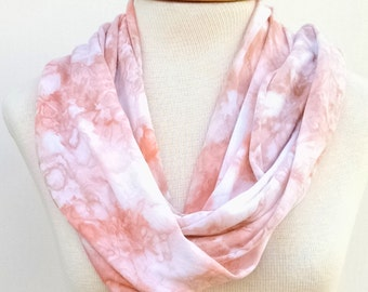 Snow Dyed Infinity Scarf, Hand Dyed Jersey Scarf in Peachy Light Brown, Women's Scarf 212